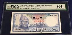 Sud-vietnam 200 Dong 1966 Ramasser 20cts2 Pmg Unc 64 Très Rare