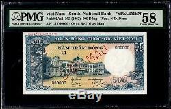 Sud-vietnam 500 Dong 1955 Spécimen Pmg58