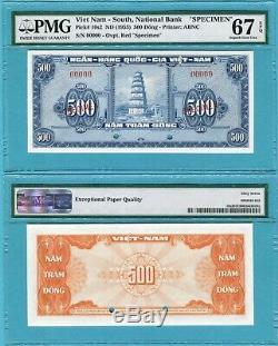 Sud-vietnam 500 Dong P10s2 Unc Spécimen / Pmg Classé Superbe Gem67epq