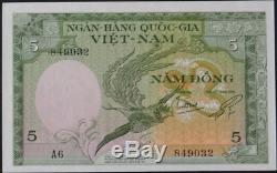 Sud-vietnam, Banque Nationale 5 Dong 1955 Chef De Pick 2a Tiger Rare! Réduit