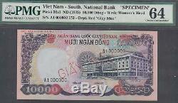 Sud-vietnam Dong 10000 Échantillons Billet P36s Nd 1975 Pmg 64 Choix Unc