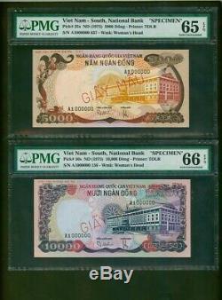 Sud-vietnam Specimen & 10.000 Dong 5,000 Nd (1975) Pmg 65 Et 66