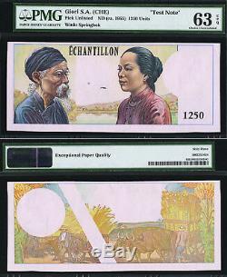 Sud-vietnam // Viet Nam 1955 Note D'essai 1250 Unités Ch Unc Pmg 63 Epq Rare
