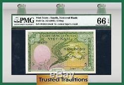 Tt Pk 2a 1955 Vietnam Du Sud, Banque Nationale 5 Dong Pmg 66 Epq Gem Uncirculated