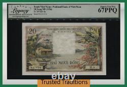 Tt Pk 4a 1956 Viet Sud Nam 20 Dant Note Stunning Lcg 67 Ppq Superb Gem Nouveau