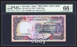 Viet Nam Du Sud 10000 Dong 1975 Spécimen P36s Pmg Gem Uncirculated 66 Epq