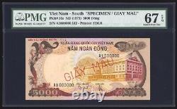 Viet Nam Du Sud 5000 Dong 1975 Spécimen P35s Pmg Superbe Gem Uncirculated 67 Epq