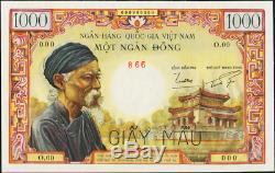 Viet Nam Du Sud Choisir 4comme 1000 Dong 1955 Vieil Homme Temple Pcgs 65ppq Gem Unique