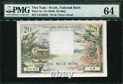 Viet Nam South 1956, 20 Dong, C6-10162, P4a, Pmg 64 Unc