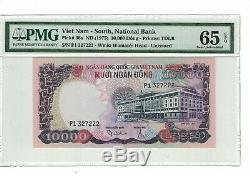 Vietnam Du Sud 10 000 Dong 1975 Pick # 36a Pmg 65 Epq Gem Unc. (# 1728)