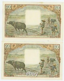 Vietnam Du Sud. P-4. 20 Dong. Nd (1956).  Unc Paire Consécutive