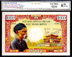 Vietnam Du Sud P4 1000 Dong 1956 Old Man Note Cgc 67's Rare Bank Note Money