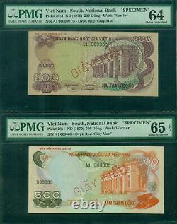 Vietnam South Specimen 1970 Ensemble De 3 Notes 100, 200 & 500 Dong Pmg 64 65