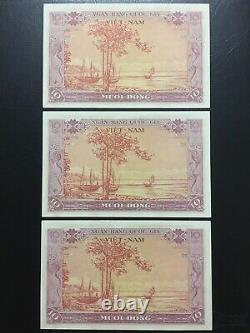 Vietnam Sud 10 Dong 1955 P3a 3 Notes Consécutives Unc (erreur, Tilde Manquant)