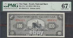 Vietnam Sud 100 Dong Note P-8a Nd 1955 Pmg 67 Epq Super Gem Unc