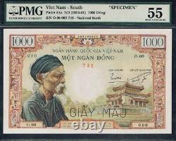 Vietnam Sud, 1000 Dong, 1955, Pick #4as, Pmg55, Specimen, Ex Rare Banknote