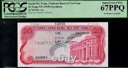 Vietnam Sud, 20 Dong, 1969, Pick 24s Pcgs67ppq Specimen Very Rare Banknote