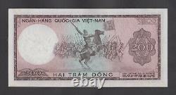 Vietnam Sud 200 Dong 1966 Aunc P20a Wmk Tête De Dragon