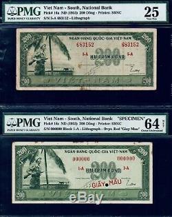 Vietnam, Sud, 200d, 1955, Pick # 14a Paire Pmg25 & Pmg64 Billets Très Rares