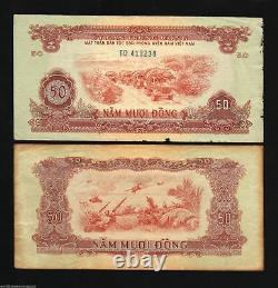 Vietnam Sud 50 Dong R-8 1963 Hélicoptère Soldier Rare World Money Bill War Note